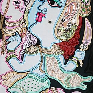 Dashavatara : Kalki by Devendra Achari, Traditional Painting, Acrylic on Canvas, Gray color