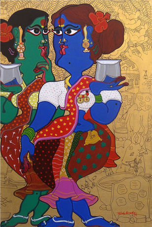 Metaphor of women by Devendra Achari, Traditional Painting, Acrylic on Canvas, Brown color