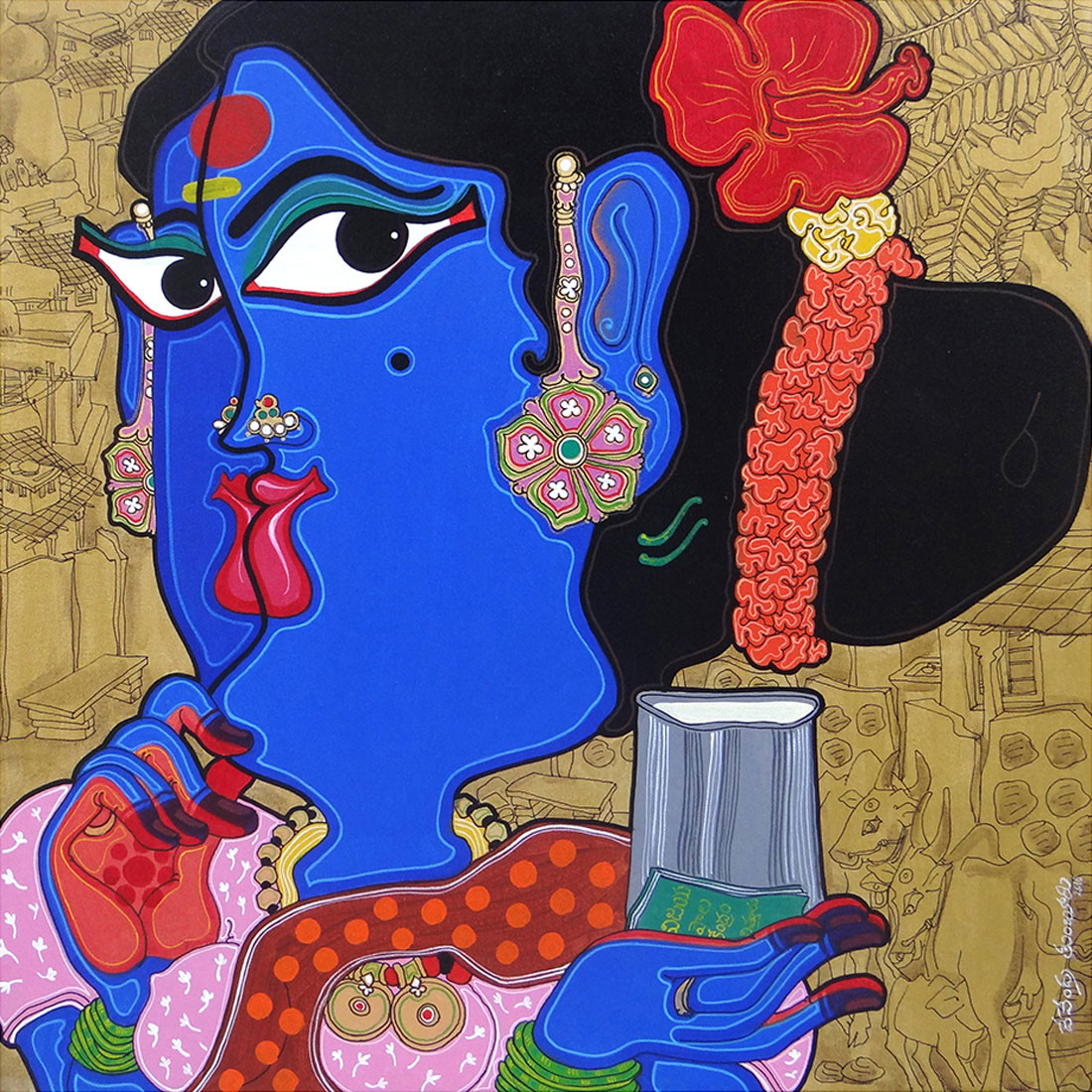 Metaphor of women by Devendra Achari, Traditional Painting, Acrylic on Canvas, Blue color