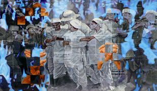 unity by manish modi, Conceptual Painting, Mixed Media on Canvas, Blue color