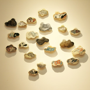 Fleeting - (21 Pieces) by Aarti Vir, Decorative Sculpture | 3D, Ceramic, Beige color