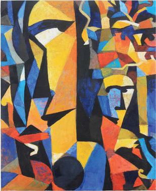 INTROSPECTION 2 by malay karmakar, Cubism Painting, Acrylic on Canvas, Brown color