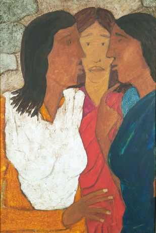untitled by Shamshad Hussain, Impressionism Painting, Acrylic on Canvas, Brown color