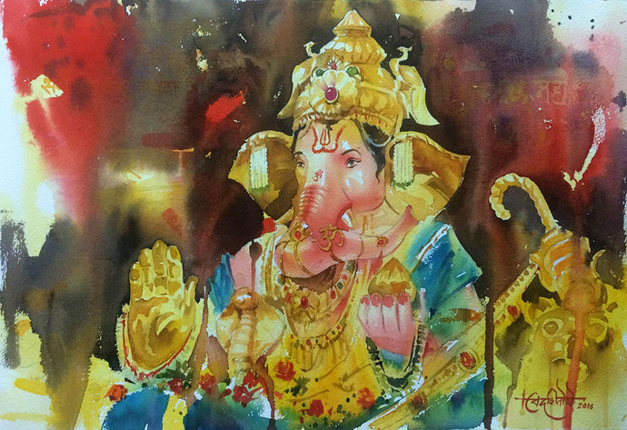 Deva Shree Ganesha- GSB seva Mandal by Vikrant Shitole, Decorative Painting, Watercolor on Paper, Brown color