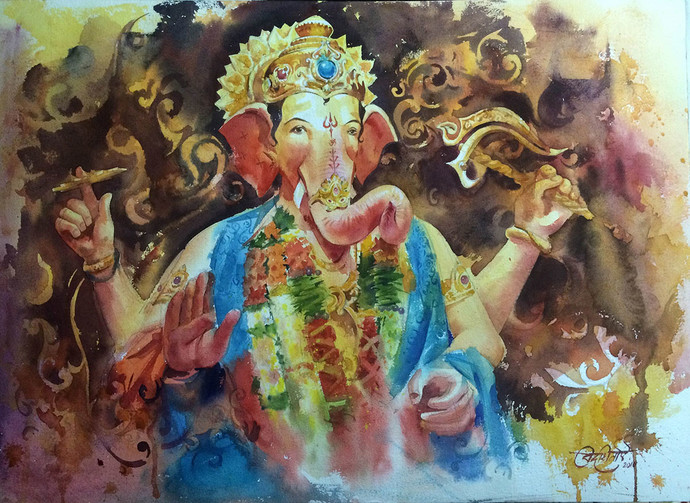 Lalbaug cha Raja by Vikrant Shitole, Decorative Painting, Watercolor on Paper, Brown color