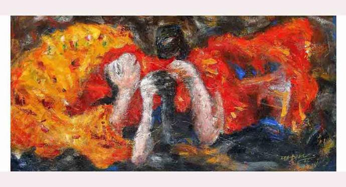 enjoying by Madhu Dhanuka Jain, Impressionism Painting, Acrylic on Canvas, Brown color