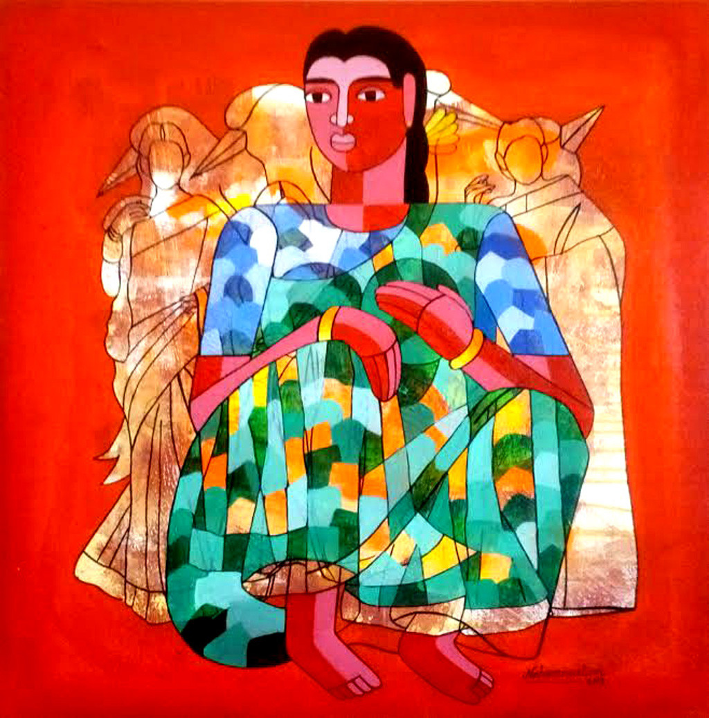 life is beautiful by Naheem Rustum, Expressionism Painting, Acrylic on Canvas, Red color
