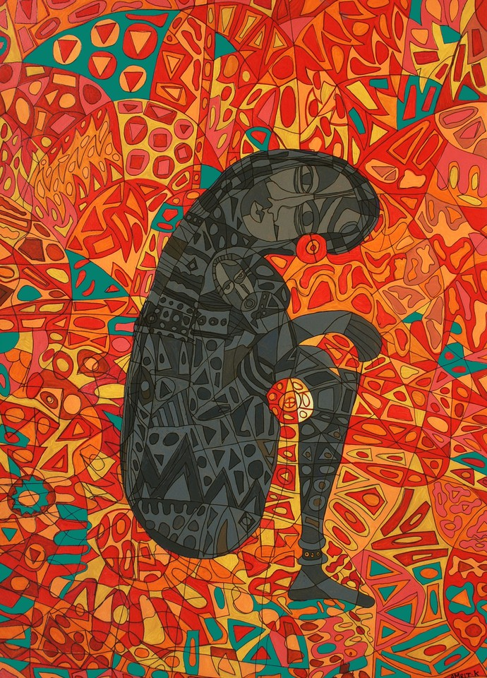 Mother and Child Digital Print by Amrit Khurana,Expressionism