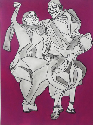 Eternal Happiness by Amrit Khurana, Expressionism Painting, Acrylic on Paper, Purple color