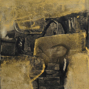Black With Gold by Umesh Patil, Abstract Painting, Acrylic on Canvas, Brown color