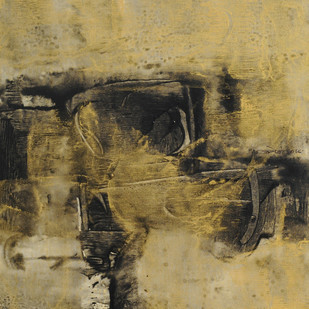 Black With Gold by Umesh Patil, Abstract Painting, Acrylic on Canvas, Beige color