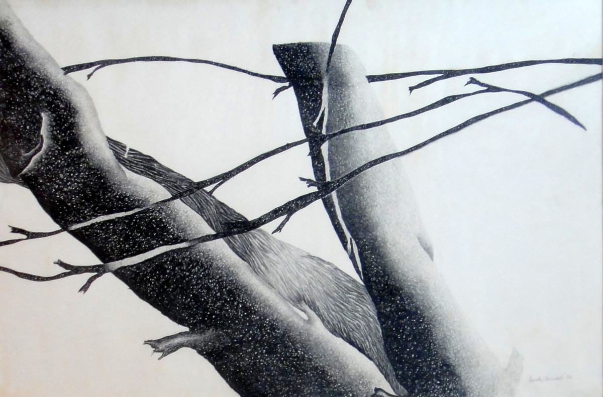 Untitled by Kavita Jaiswal, Abstract Painting, Charcoal on Paper, Gray color