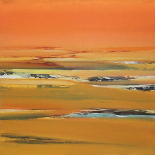Indian Summer 3x3 by Deepak Madhukar Sonar, Abstract Painting, Acrylic on Canvas, Brown color