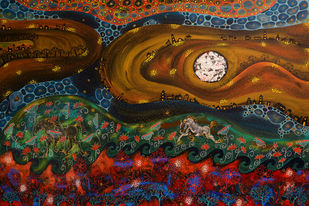 Over the Moon by Pragati Sharma Mohanty, Fantasy Painting, Mixed Media on Canvas, Brown color