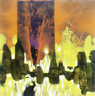 SK3 by sachin Kolhatkar, Abstract Painting, Acrylic on Board, Yellow color