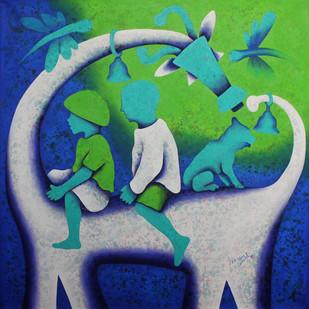 athkheliya Digital Print by Lakhan Singh Jat,Expressionism