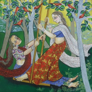 Swing 2 by Jayshree P Malimath, Expressionism Painting, Acrylic on Canvas, Green color