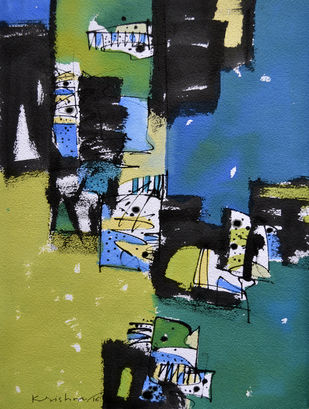 Nature 4 by Krishna Pulkundwar, Abstract Painting, Mixed Media on Paper, Green color
