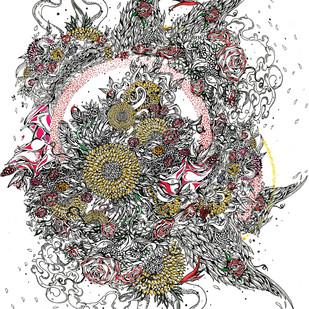 Petals and spring by Santanu Hazarika, Illustration Digital Art, Digital Print on Paper, Gray color