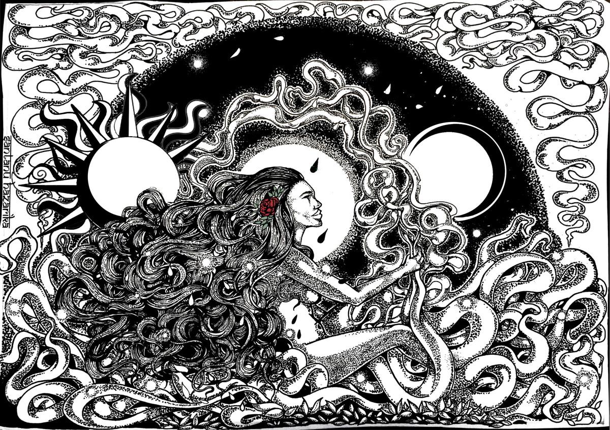 maya by Santanu Hazarika, Illustration Drawing, Digital Print on Paper, Gray color