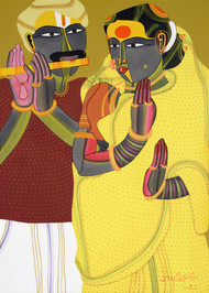 Untitled by Thota Vaikuntam, Expressionism Painting, Digital Print on Canvas, Brown color