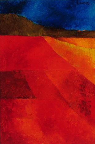 Untitled by Akbar Padamsee, Impressionism Digital Art, Digital Print on Canvas, Red color