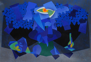 Meditation by Ajay Zharotia, Conceptual Painting, Acrylic on Canvas, Blue color