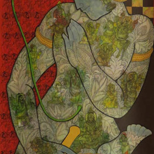 Untitled by Ramesh Gorjala, Expressionism Painting, Mixed Media on Canvas, Brown color