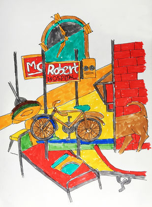 Good bye Mc Robert by Vijendra S Vij, Expressionism Drawing, Acrylic & Ink on Paper, Gray color