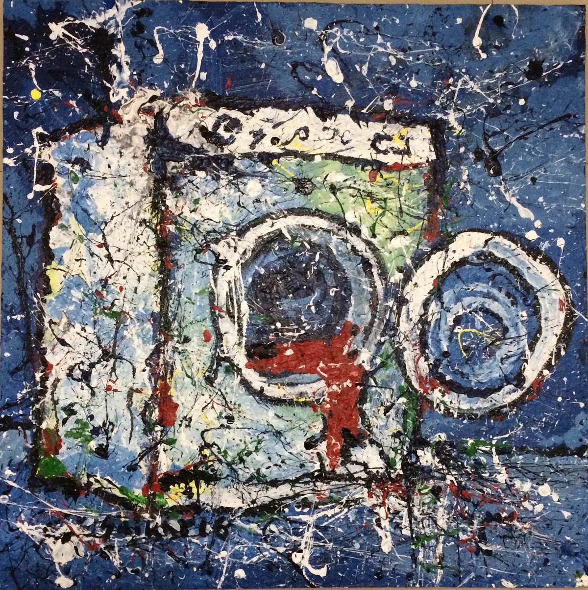 Washing Machine by Saikat Chakraborty, Impressionism Painting, Acrylic on Canvas, Blue color