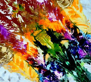 Bouquet by Baljit Singh Chadha, Abstract Painting, Acrylic on Canvas, Brown color