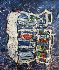 Refrigerator by Saikat Chakraborty, Impressionism Painting, Acrylic & Ink on Canvas, Blue color
