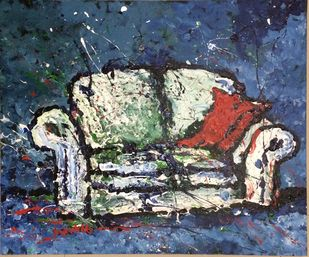 Sofa by Saikat Chakraborty, Impressionism Painting, Acrylic on Canvas, Blue color