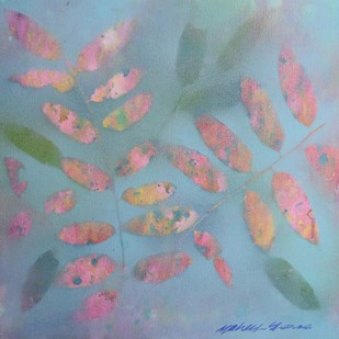 Floating Leaves 3 by Mahesh Sharma, Impressionism Painting, Acrylic on Canvas, Cyan color