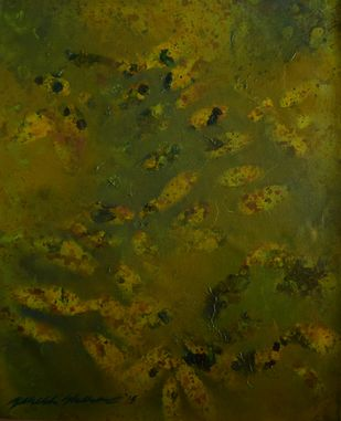 Subdued Leaves 3 by Mahesh Sharma, Impressionism Painting, Acrylic on Canvas, Green color