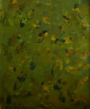 Subdued Leaves 7 by Mahesh Sharma, Impressionism Painting, Acrylic on Canvas, Green color