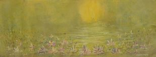 Quietude by Mahesh Sharma, Impressionism Painting, Acrylic on Canvas, Beige color
