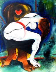 Unsafe Society by Diptendu Bhowal, Expressionism Painting, Oil on Canvas, Blue color