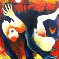 Diptendu bhowal 24x30 oil in canvas 2014 unsafe society i
