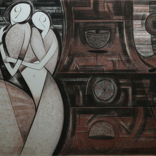 Mother & Child by Dattatraya Thombare, Expressionism Drawing, Charcoal on Paper, Gray color