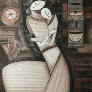 Mother & Child by Dattatraya Thombare, Expressionism Drawing, Charcoal on Paper, Brown color