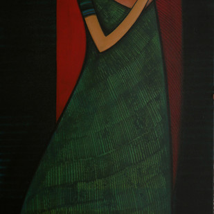 Journey With Life-3 by Dattatraya Thombare, Expressionism Painting, Acrylic on Canvas, Black color