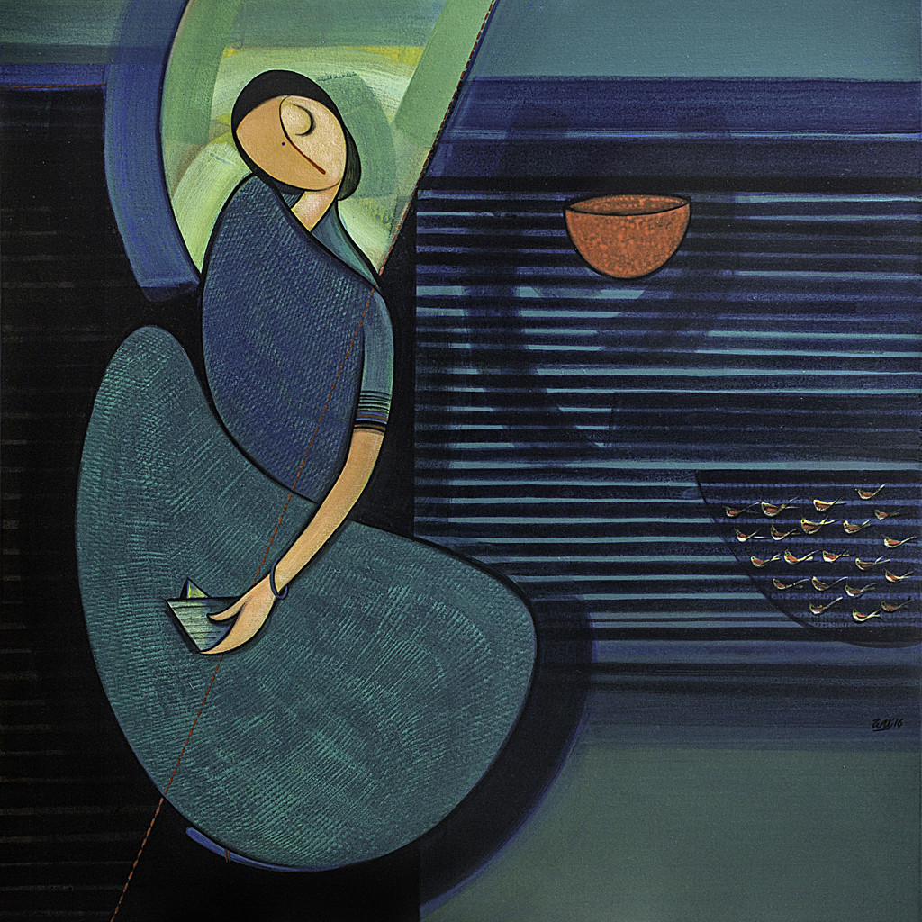 Reflection by Dattatraya Thombare, Expressionism Painting, Acrylic on Canvas, Blue color