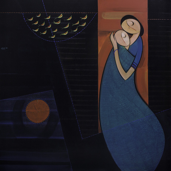 Mother & Child by Dattatraya Thombare, Expressionism Painting, Acrylic on Canvas, Black color