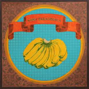 Musa Paradisiaca of rice route by Tushar Waghela, Pop Art Painting, Acrylic on Canvas, Brown color