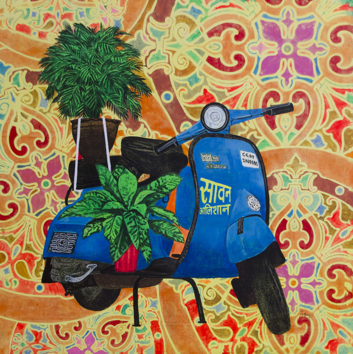 Saavan Alishaan by Tushar Waghela, Pop Art Painting, Acrylic on Canvas, Brown color