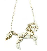 EMBELLISHED WHITE HORSE by BEGADA, Contemporary Necklace