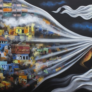 Utopia by VG Venugopal, Conceptual Painting, Acrylic on Canvas, Gray color