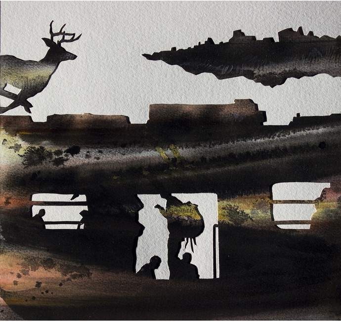 Transit-15 by VG Venugopal, Conceptual Painting, Watercolor on Paper, Gray color