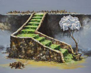 Green Carpet by VG Venugopal, Conceptual Painting, Acrylic on Canvas, Brown color